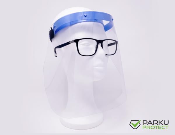 Schutzvisier von parku-protect auch für Brillenträger geeignet